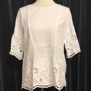 Ann Taylor Embroidered Cotton Blouse